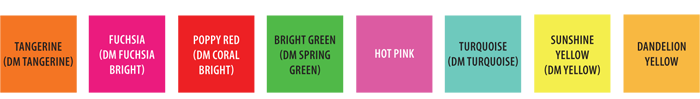 Flower Trends Forecast 2014 Confetti colors. Tangerine, Fuchsia, Coral Bright, Spring Green, Hot Pink, Turquoise, Yellow, Dandelion Yellow