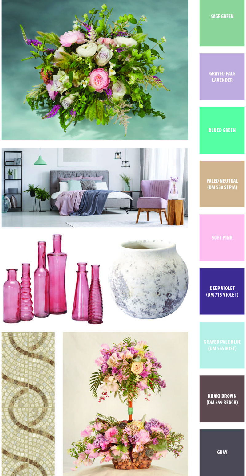 Ethereal Bliss: Containers Flowers and Colors, Sage Green, Grayed Pale Lavender, Blued Green, Paled Neutral DM538 Sepia, Soft Pink, Deep Violet DM715 Violet, Grayed Pale Blue DM555 Mist, Khaki Brown DM559 Beach, Gray