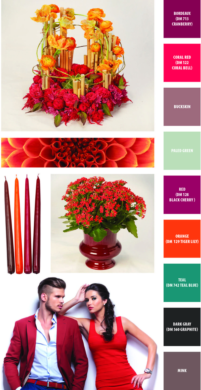 Hear Me Roar: Containers Flowers and Colors Bordeaux DM713 Cranberry, Coral Red DM122 Coral Bell, Buckskin, Paled Green, Red DM128 Black Cherry, Orange DM129 Tiger Lily, Teal DM724 Teal Blue, Dark Gray DM560 Graphite, Mink